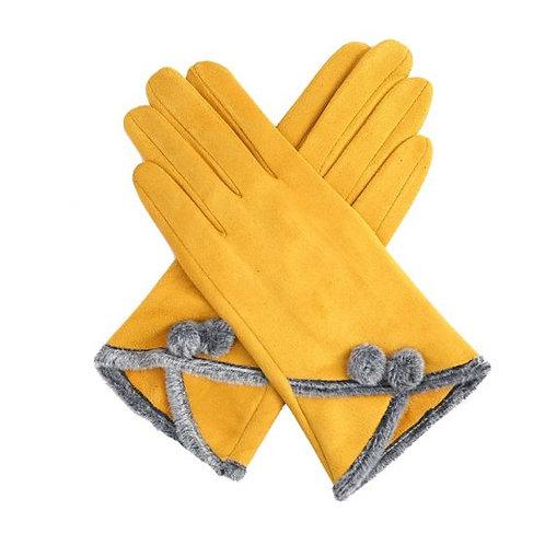 Mustard Pom Pom Gloves