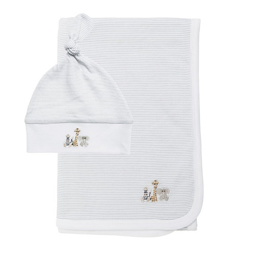 Sophie Allport Bears and Balloon Swaddle Blanket and Hat Set