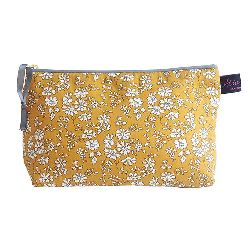 Alice Caroline Liberty Tana Lawn Capel Mustard Cosmetic Bag