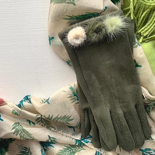 Green Pom Pom Gloves