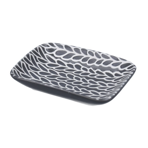 Gisela Graham Grey/White Leave Cermaic Dish