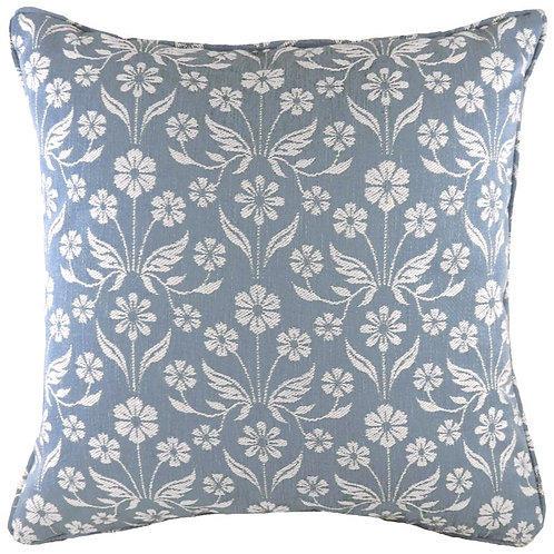 Glendale Floral Piped  Blue Cushion
