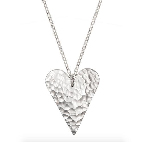 Kate Hamilton Hunter Eco Aluminium Hammered Slim Heart Necklace