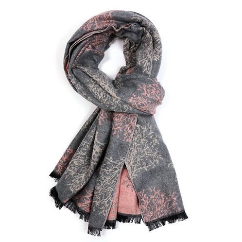 Grey and Pink Tree Scarf