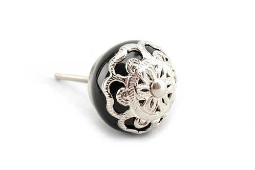 Black with Silver Filigree Knob