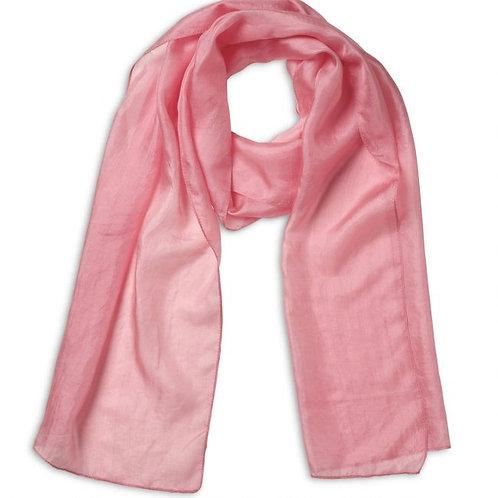 Quintessential Plain Coral Pink Silk Scarf