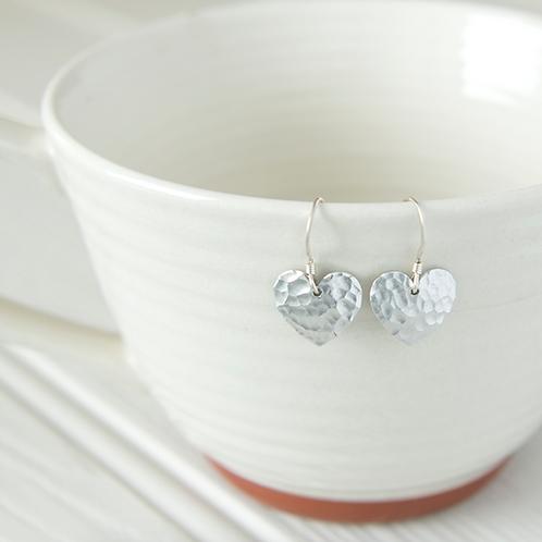 Kate Hamilton Hunter Hammered Aluminium Heart Earrings