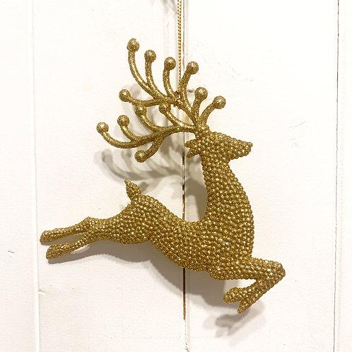 Gold Sparkle Reindeer Decoration