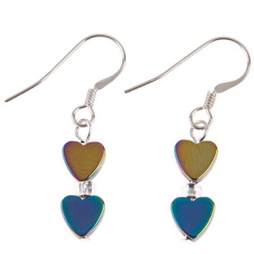 Carrie Elspeth Rainbow Haematite Hearts Earrings