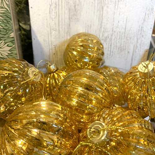 Antique Gold Ribbed Glass Bauble