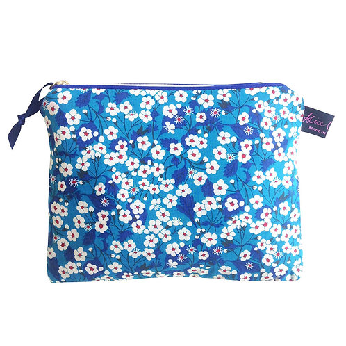 Alice Caroline Liberty Tana Lawn Mitsi Blue Travel Pouch