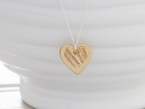 Kate Hamilton Hunter Small Hammered Brass Heart Necklace