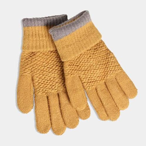 Quintessential Mustard Moss Stitch Gloves