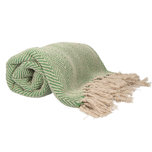 Gisela Graham Green Woven Chevon Cotton Throw