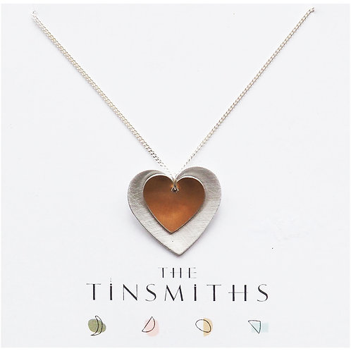 Kate Hamilton-Hunter Copper Rose Double Heart Necklace