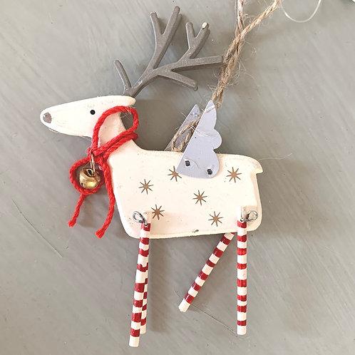 Ivory Swing Leg Wooden Reindeer Decoration