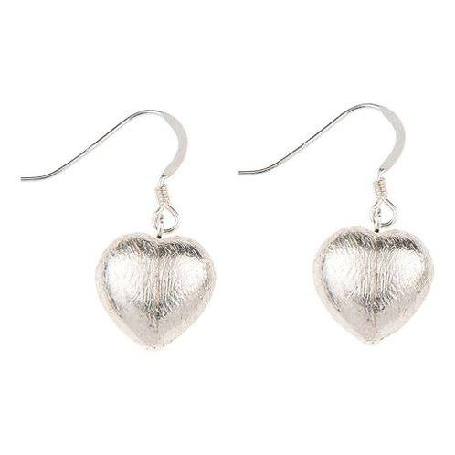 Carrie Elspeth Brushed Silver Hearts Earrings
