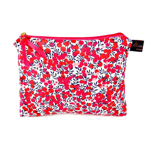 Alice Caroline Liberty Tana Lawn Wiltshire Red Travel Pouch