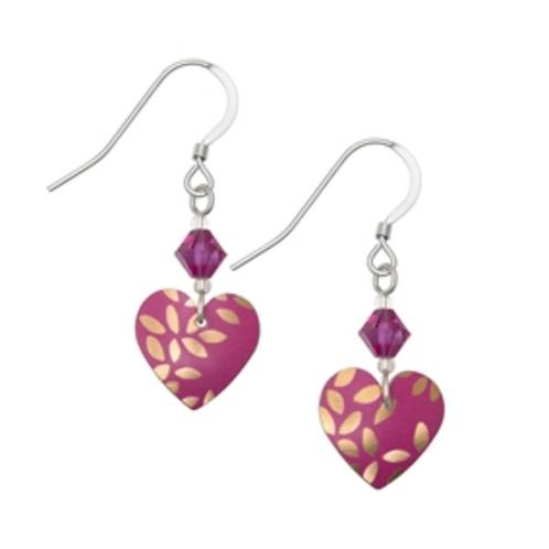 Kyoto Garden Fuchsia Heart Earrings and Crystal