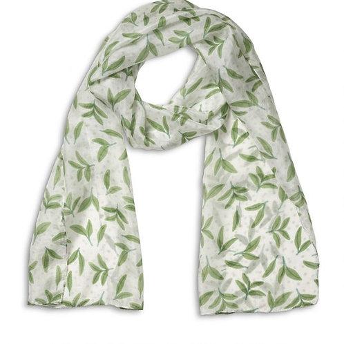 Quintessential Printed Taupe Honeysuckle Silk Scarf