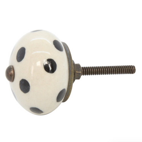 Gisela Graham Ceramic White and Black Dot Knob