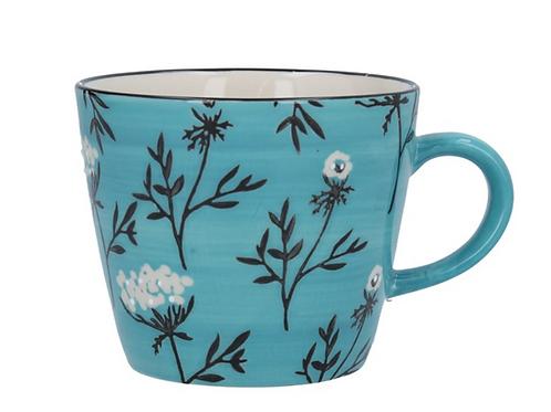 Gisela Graham Blue Cow Parsley Mug