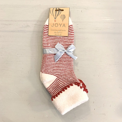 Joya Red and White Stripe Wool Blend Cuff Socks