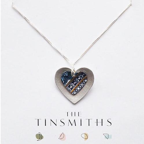 Kate Hamilton-Hunter Blue Double Heart Necklace