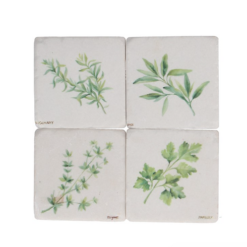 Gisela Graham Pack of 4 Herb Resin Coasters