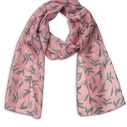 Quintessential Printed Pink Honeysuckle Silk Scarf