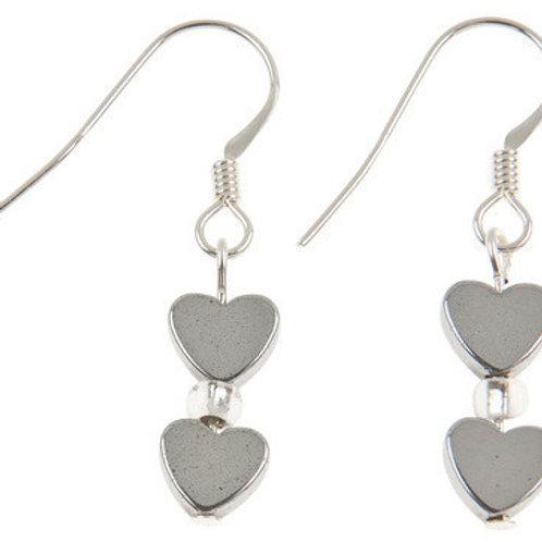 Carrie Elspeth Mini Haematite Heart Earrings
