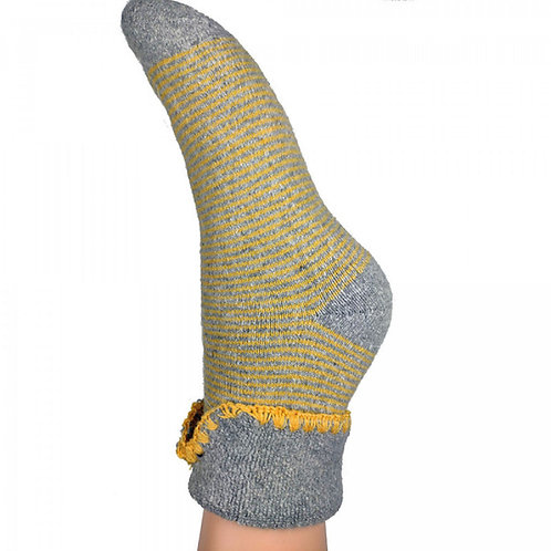 Joya Mustard and Grey Stripe Wool Blend Cuff Socks