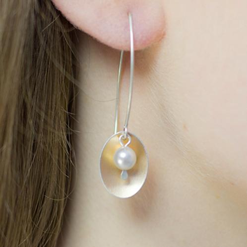 Kate Hamilton Hunter Copper Rose Oval & Pearl Earrings