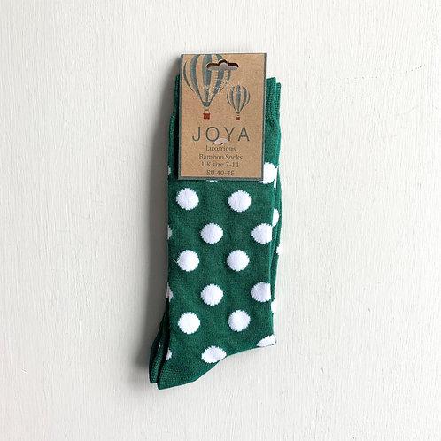 Joya Bamboo Green Spot Ankle Socks (7-11)