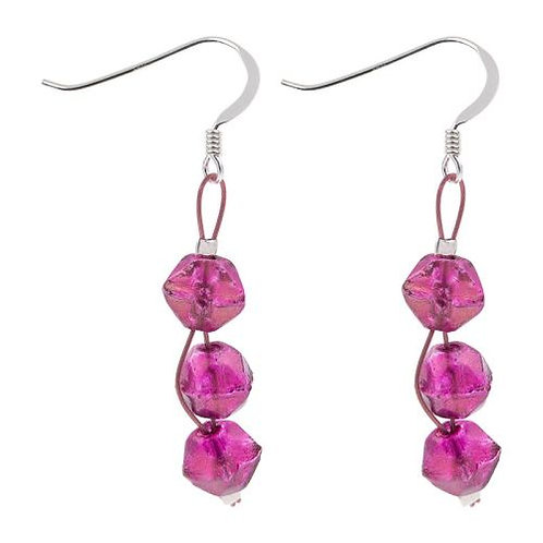 Carrie Elspeth Fuchsia Faceted Double Strand Earrings