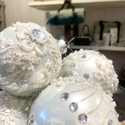 White Large Glass Fabric Bauble