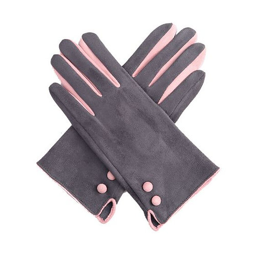Grey and Pink Button Gloves