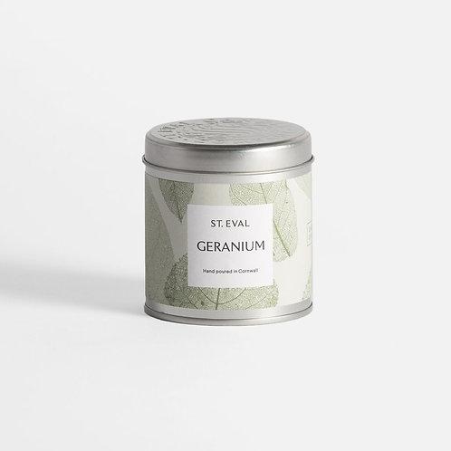 St. Eval Geranium Tin Candle