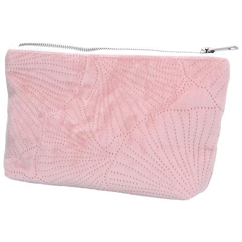 Gisela Graham Pink Quilted Velvet Makeup Bag