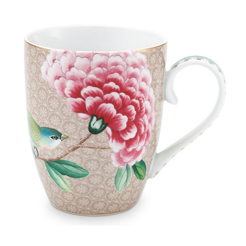 Pip Studio Large Khaki Blushing Birds Mug 350ml