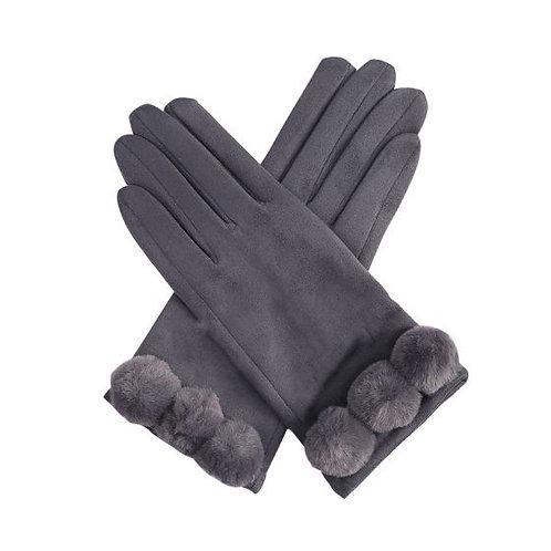 Grey Pom Pom Gloves