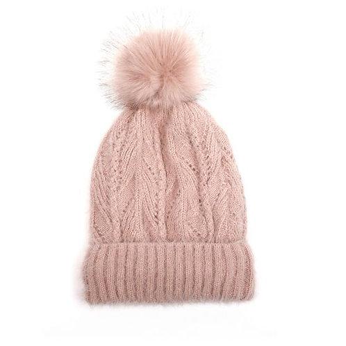 Dusky Pink Pom Pom Hat