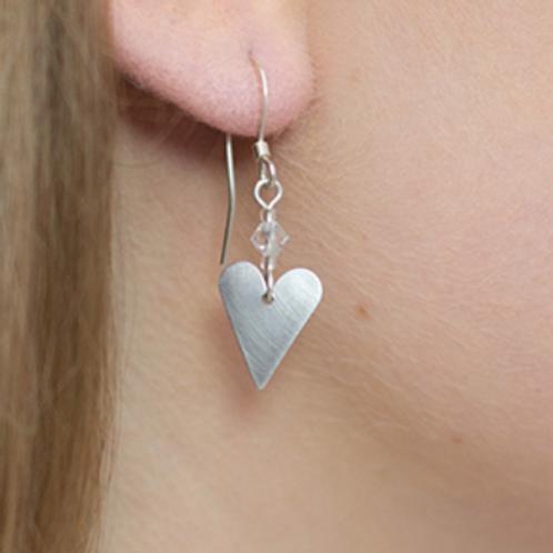 Kate Hamilton Hunter Aluminium Small Slim Heart & Crystal Earrings