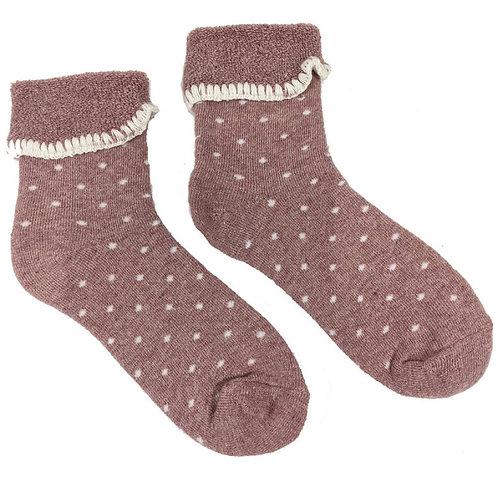 Joya Dusty Pink Polka Dot Wool Blend Cuff Socks