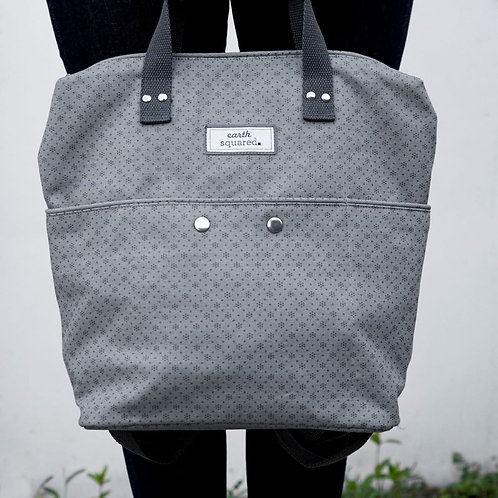 Earth Squared Grey Floral Canvas Backpack