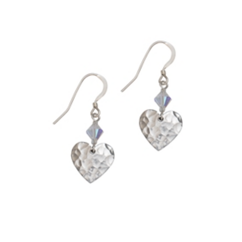 Kate Hamilton Hunter Hammered Heart Earrings with Crystal