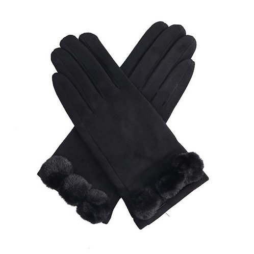 Black Pom Pom Gloves