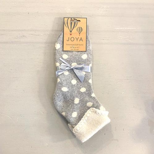 Joya Grey and White Polka Dot Wool Blend Cuff Socks