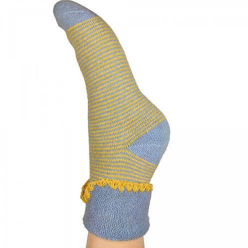 Joya Mustard and Blue Stripe Wool Blend Cuff Socks