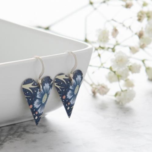 Kate Hamilton Hunter Midnight Floral Medium Heart Earrings